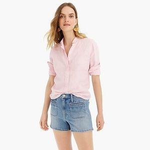 J Crew Pink Irish Linen Button Down Shirt 12